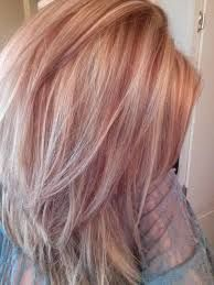 Image result for rose gold highlights on blonde hair bob style
