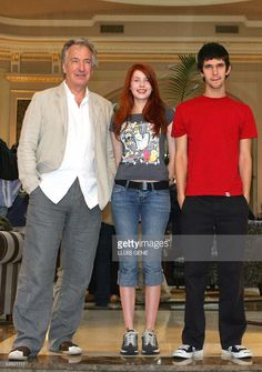 Actors Alan Rickman, Rachel Hurd-Wood and Ben Whishaw pose during a photocall for their film 'Perfume - The Story of a Murderer' in Barcelona, 29 August 2005, a film based on the bestselling book by Patrick S?skind. AFP PHOTO/LLUIS GENE