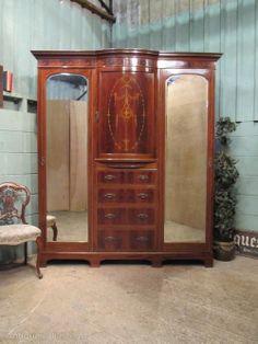 Antique Edwardian Mahogany Inlaid Triple Wardrobe