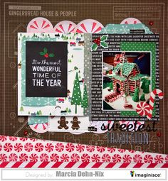 layout created with the Pebbles Home for Christmas collection and a 17Turtles cut file. Washi tape helps to create a flip book on the layout to include more photos under the main one.