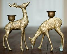Vintage Brass Deer Candle Holders Candlestick by WindstoneVintage, $23.00