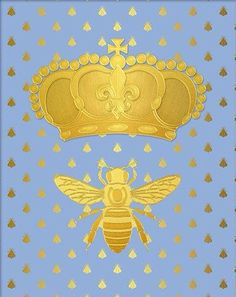 Gold Foil Print Napoleonic Bee with Crown [ThinkLovePrintables]