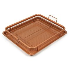 2 Piece Copper Crisper Oven Air Fryer Pan Set Copper Chef Cooking Nonstick Oven  #CopperChef