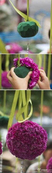 DIY. Hanging flower ball bouquets with satin ribbon.