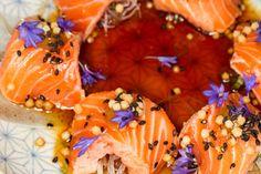Salmon tataki with mustard miso