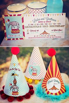 Circus Carnival Birthday Party Package Printable by paigesofstyle Girl Monkey Birthday, Monkey Birthday Parties, Carnival Birthday Parties, Circus Birthday, Birthday Hats, Carnival Party Games, Personalized Invitations, Happy Birthday Banners