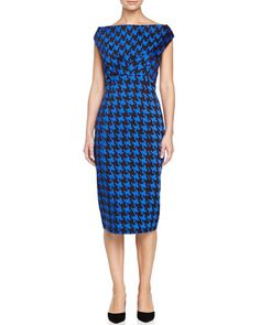 Houndstooth Empire Sheath Dress, Black/Royal  by Michael Kors at Neiman Marcus.