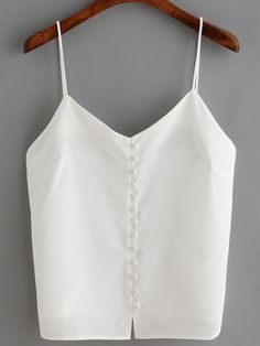Top à bretelle avec boutons -blanc -French SheIn(Sheinside)