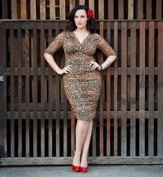 She's the cat's meow!  Betsey Ruched Dress by Kiyonna in the Limited Edition Brown Leopard Print #plus size