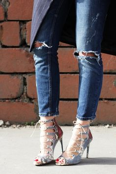 Zara Lace Up Sandals + Ripped Jeans