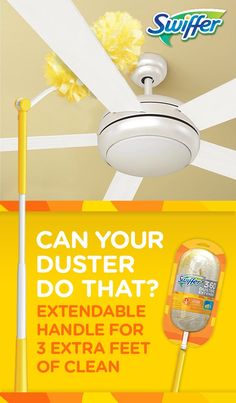 Swiffer® 360º Dusters Extender™ comes with a swivel head and an extendable handle for three extra feet of clean. Reach up high and tackle dust your feather duster didn't even know existed.