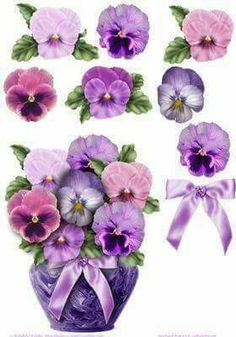 Decoupage Purple Pot of Pansies Shaped Card on Craftsuprint Paper Art, Paper Crafts, Decoupage Printables, 3d Sheets, 3d Christmas, Shaped Cards, 3d Cards, 3d Prints, Printable Paper