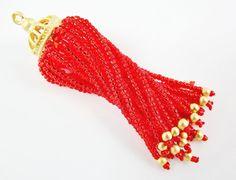 Long Fiery Red Beaded Tassel  22k Matte Gold by LylaSupplies, $10.00