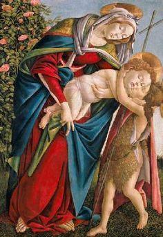 Sandro Botticelli - Madonna mit Kind und dem Johannesknaben.