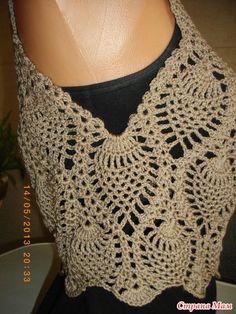 Dress - sundress pineapple online - knit together online - Country Mom Crochet Bolero Pattern, Crochet Jumper, Crochet Crop Top, Crochet Stitches Patterns, Crochet Blouse, Crochet Lace, Crochet Bikini, Knitting Patterns, Pineapple Crochet