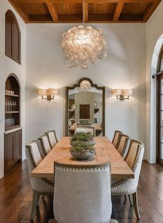 In the formal dining room, there are built-ins for displaying glassware.