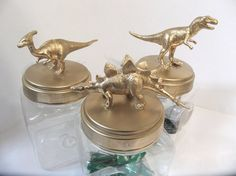 Gold Metallic Plastic Dinosaur Jars or Storage Containers - set of 3 - Kitchen, Dorm or Kids Room Decor. Can be custom made in any color or combo of dinosaurs.