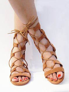Gladiator Sandals! Brown Suede Lace-up Gladiator Sandals with Gold Heels