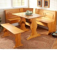 BREAKFAST NOOK KITCHEN DINING SET CORNER L SHAPE BOOTH WOOD DINETTE TABLE BENCH #Country