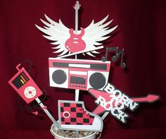 Rock Star  Rock & Roll Party Centerpiece Winged by CSCuteCrafts, $20.00