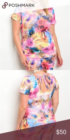 """Coming Soon! Yellow Pink Multi Roses Strappy Back Plus size short sleeve water color flaral print bodycon dress. Material is 94% polyester 6% spandex. Length is 39"""". Dresses"""