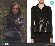 37acbf0a6c1f83 Olivia's black belted peplum jacket on Scandal. Outfit Details: https:// wornontv