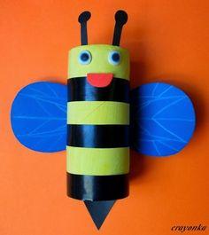 Prace plastyczne - Kolorowe kredki: Pszczółka z rolki po papierze toaletowym