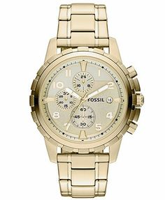 Fossil Watch, Men's Chronograph Dean Gold-Tone Stainless Steel Bracelet 45mm FS4867