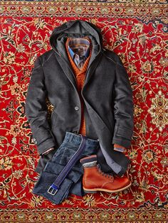 """The Artist"" by reddit user fractalfiction Corneliani Wool/Cashmere Stroller Coat: $1098. Made in Turkey Robert Talbott Alpaca Basket Weave Shawl Pullover: $298. Made in Italy Circle of Gentlemen Exploded Check Shirt: $275. Made in Turkey Sand 5 Pocket Indigo Square Cords: $295. Made in Europe Anderson Calf Leather Belt: $225. Made in Italy Pantherella Merino Wool Socks: $38. Made in England Red Wing Beckman Boots: $346. Made in USA"