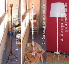 Las lámparas de pie resultan bastante caras, y cuanto mas estilosas son más van aumentando las cifras..Ya teníamos un par de estas simples y modernas, rectas, plateadas y con la pantalla de plástico, pero tenía ganas de un pie de estos de metal, con detalles y formas si
