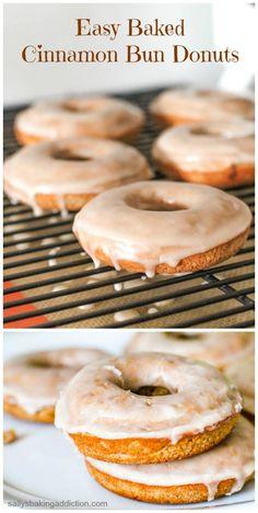 Easy Baked Cinnamon Bun Donuts - taste like Krispy Kreme! sallysbakingaddiction.com