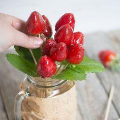 Bouquet d'amour (sucettes de fraises façon pomme d'amour)