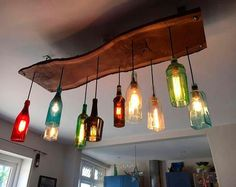The Gran Marnier Recycled Liqueur Bottle Square Chandelier With Metal Canopy and Vintage Style Edison Bulbs - Modern Rustic Decor Lustre en bouteille Decor, Modern Farmhouse Lighting, Hanging Chandelier, Interior, Wine Bottle Chandelier, Light Fixtures, Home Decor, Modern Rustic Decor, Bottle Chandelier