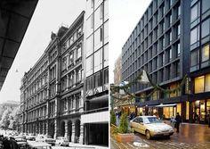 Hotelli Kämp oli alkuperäisessä asussaan Kluuvikadun puolella vielä 1960-luvun puolivälissä. Pankin uusi toimistotalo muutettiin hotellihuoneiksi, kun Kämpistä tuli uudelleen hotelli.