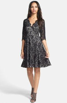 Eliza J Surplice Bodice Lace Fit & Flare Dress available at #Nordstrom