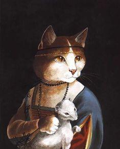 "Susan Herbert (English, born 1945) ""Lady with an Ermine"", Leonardo Da Vinci"