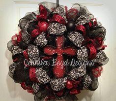 Stunning Tin Cross Deco Mesh Wreath in Red by JenniferBoydDesigns, $85.00