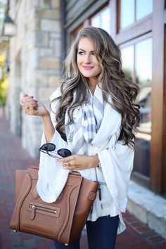white bell sleeve top, grey plaid scarf, Celine handbag