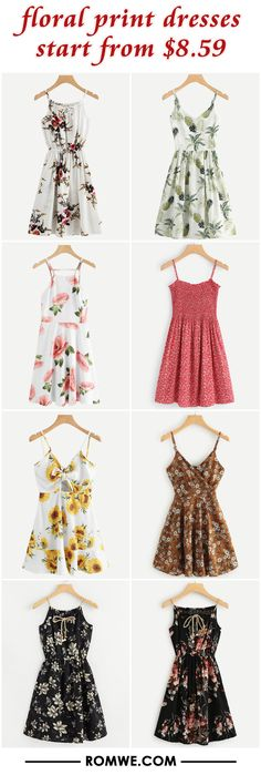 Shop online for the latest collection of Florals & Print Dress. Find the best styles and deals at ROMWE right now! Cute Summer Outfits, Cute Casual Outfits, Stylish Outfits, Casual Dresses, Teen Fashion Outfits, Outfits For Teens, Girl Outfits, Fashion Dresses, Cute Prom Dresses