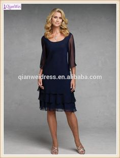 1457f4f71e93 Cheap Long Tiered Chiffon Skirts Navy Blue Tea Length Mother Of The Bride  Dress With Sleeves