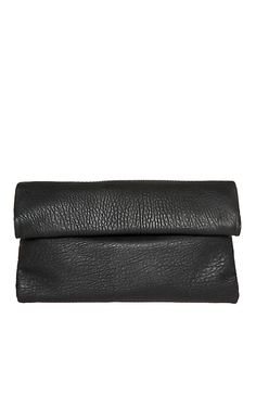 Double Fold Over Clutch in Black | DAILYLOOK