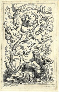 centaur and satyr in abstract ornamental 17th c. etching
