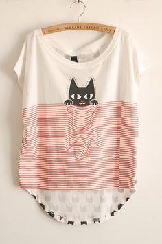 Cute Print High-Low Loose Fit Tee.  ~ Get Your Ozzi #Cat #Magazine here >> http://OzziCat.com.au