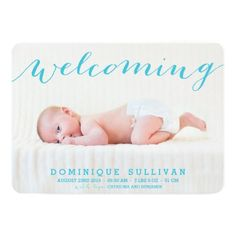 Whimsical Blue Script Photo Birth Announcement Card.  Easy to Customize Template. #baby #birthannouncements