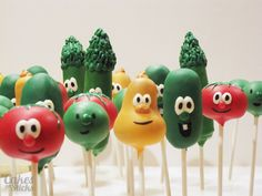 Veggie Tales-themed cake pops
