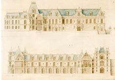 Fontainebleau, elevation and section of the buildings on the Cour de la Fontaine. 1676.