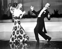"""Ginger Rogers and Fred Astaire in Shall We Dance (George Stevens, 1937). Ginger's dress - white with red flowers - was by Irene. One of my favorite dance sequences of all time """"They All Laughed"""" by Gershwin"""