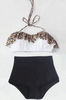 Halterneck Tiny Floral Print Bikini Set