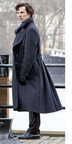 Like I said on another board, I really wish this coat came in my size and DIDN'T cost over a thousand dollars. Benedict Cumberbatch as Sherlock Holmes. Coat, Belstaff Milford, $1,350. I love the subtle touch with the red on the top button hole, btw. I believe that was the Sherlock costume department's doing.