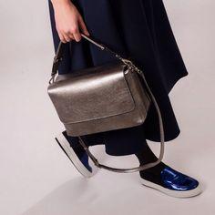 Silver 'CUBE' BAG, DEERSKIN @luchinskaya_official
